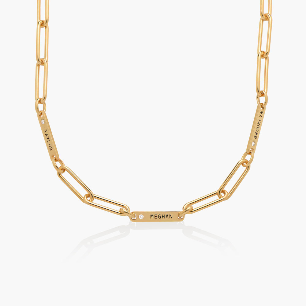Ivy Name Paperclip Chain Necklace with Diamond - Gold Plated