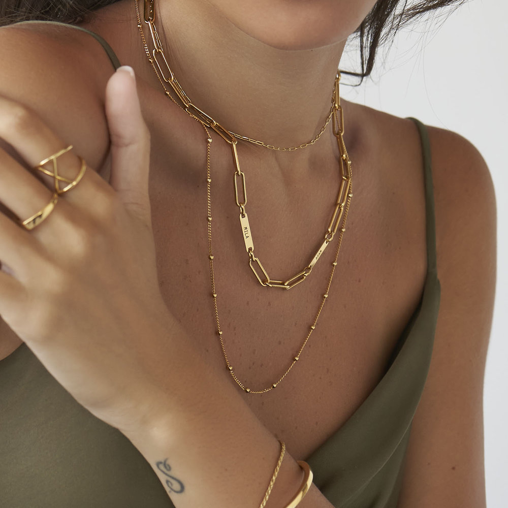 Ivy Name Link Chain Necklace - Gold Vermeil - 4