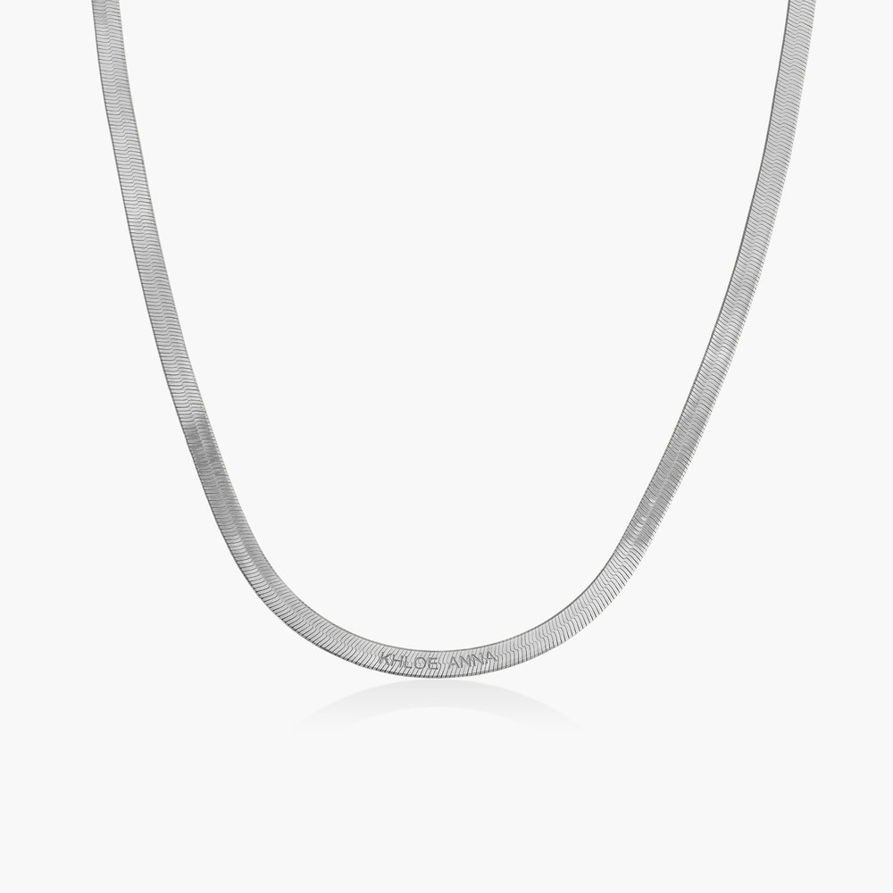Herringbone Slim Chain Necklace - Sterling Silver