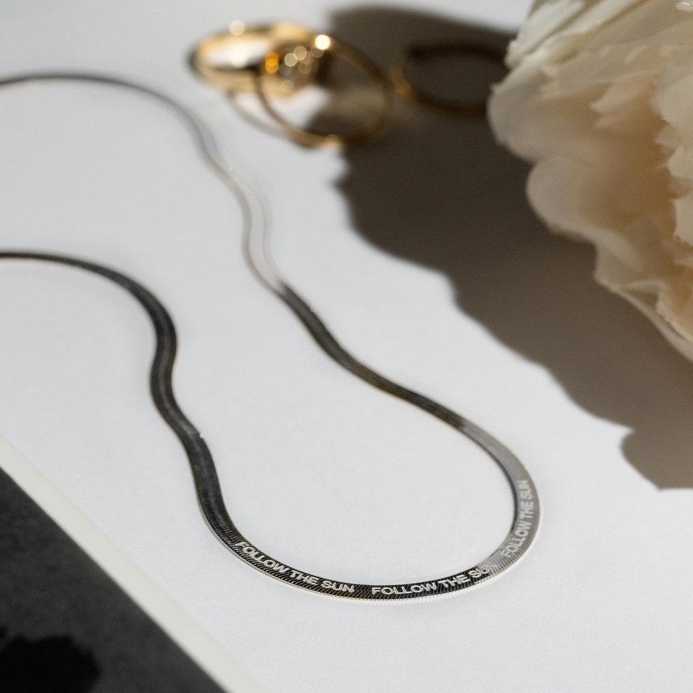 Herringbone Slim Chain Necklace - Sterling Silver - 2