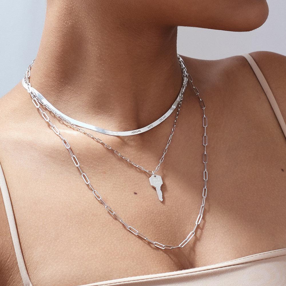 Herringbone Slim Chain Necklace - Sterling Silver - 4