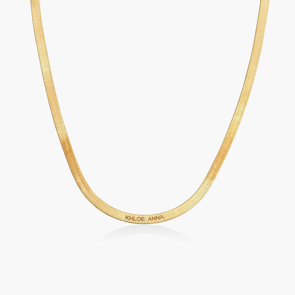 Herringbone Slim Chain Necklace - Gold Plated
