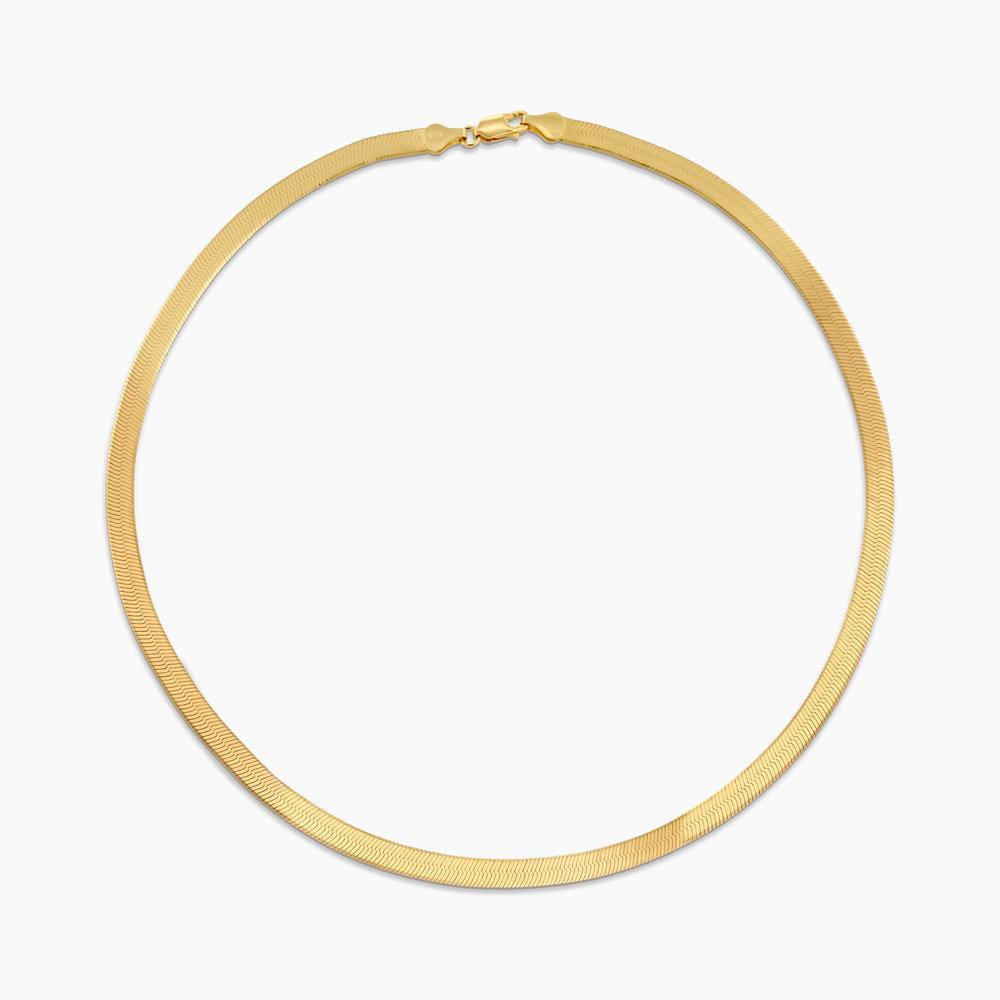 Herringbone Slim Chain Necklace - Gold Plated - 1