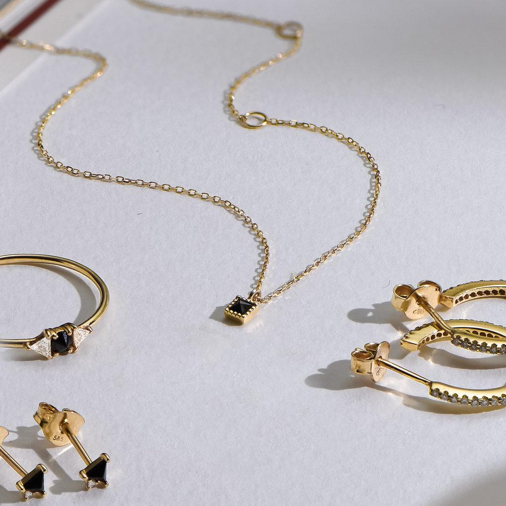 Tabitha Black Spinel Necklace - 14K Solid Gold - 1
