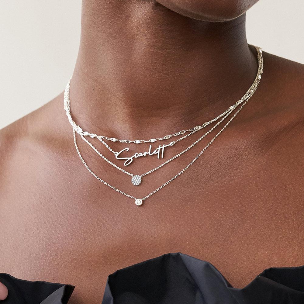 Keeya Pave Diamond Necklace - Sterling Silver - 2