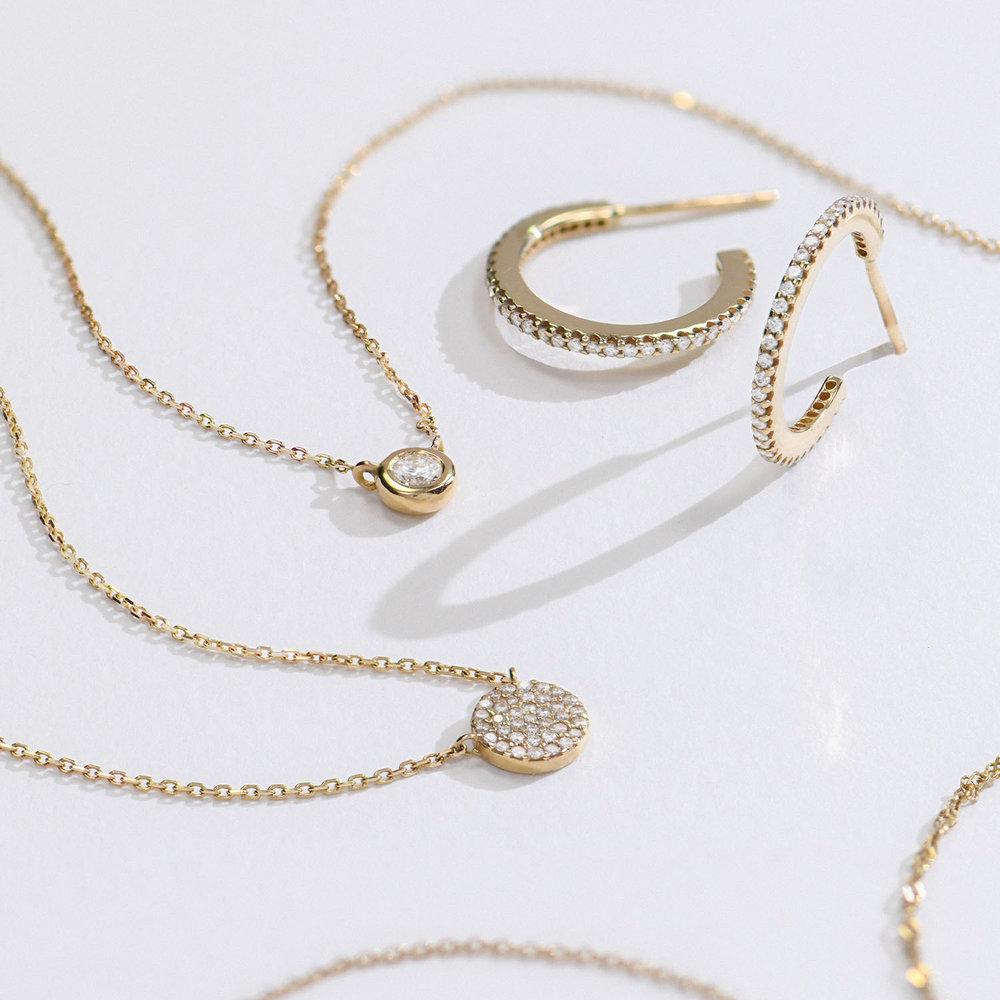 Keeya Pave Diamond Necklace - Gold Plating - 1
