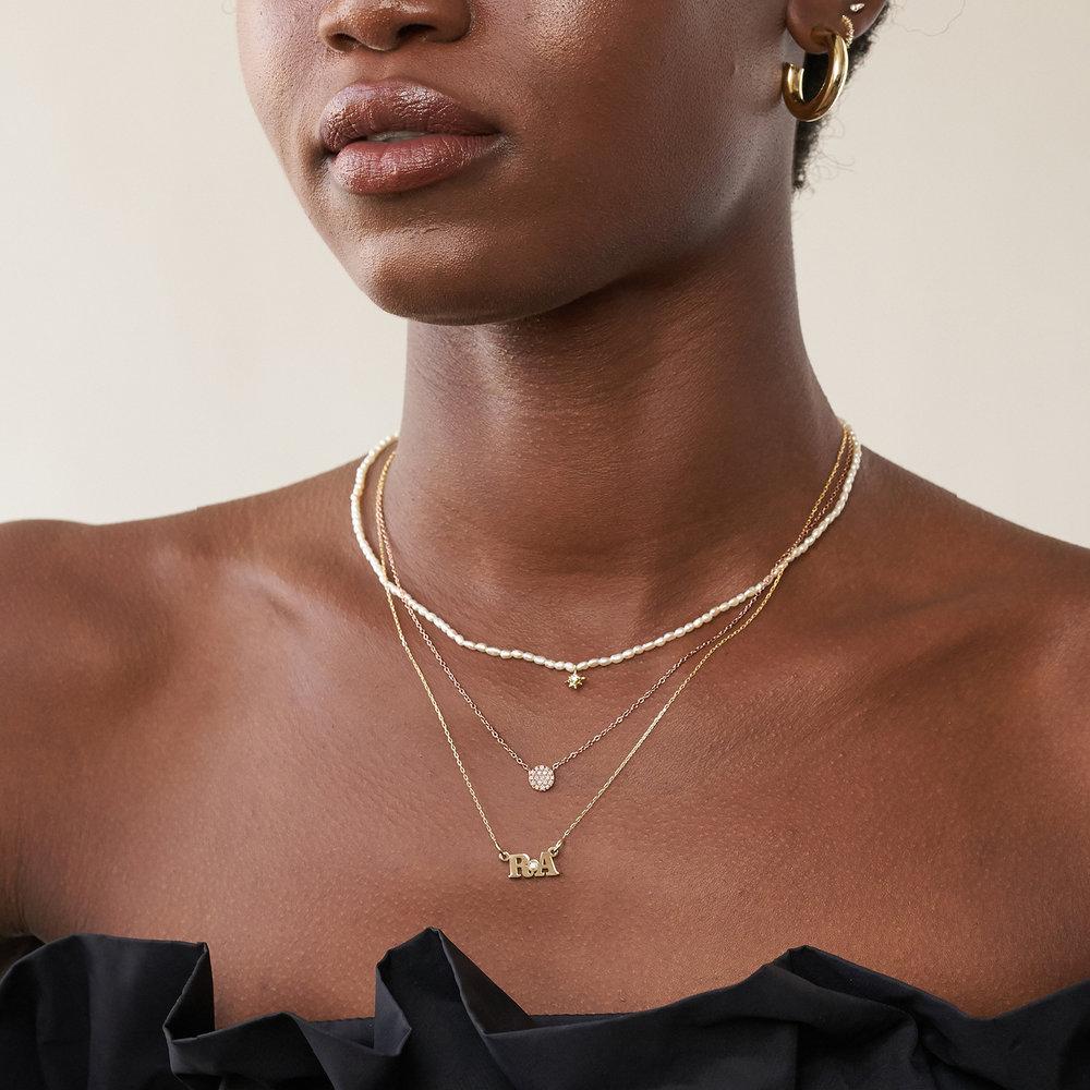 Keeya Pave Diamond Necklace - Rose Gold Plating - 1