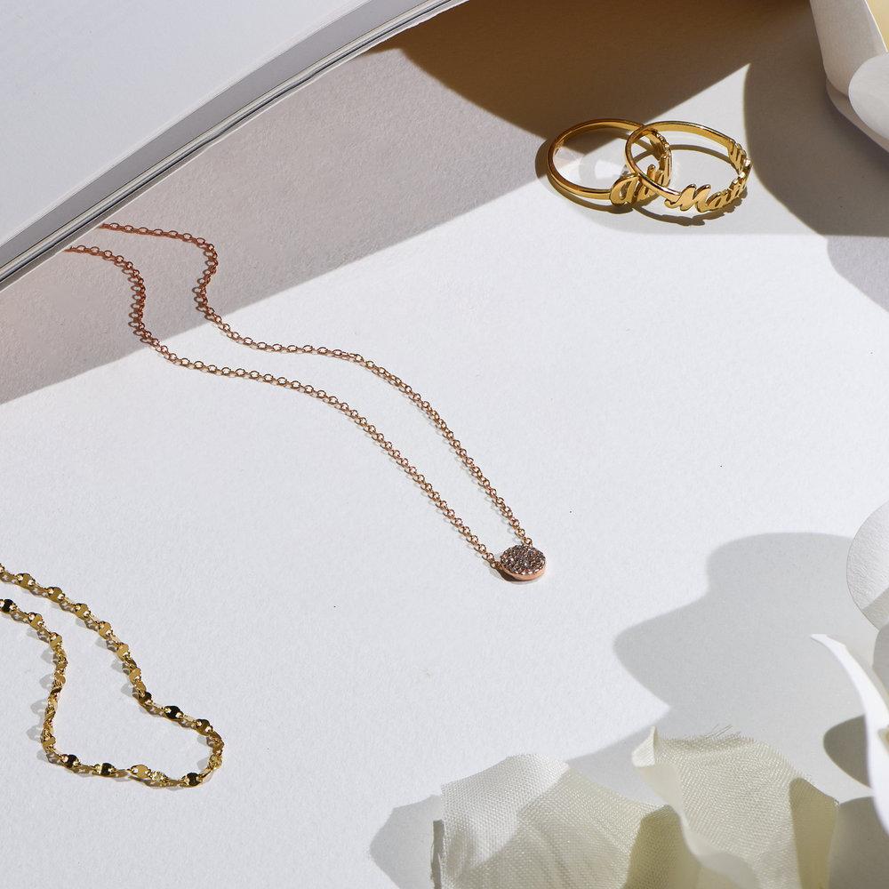 Keeya Pave Diamond Necklace - Rose Gold Plating - 3