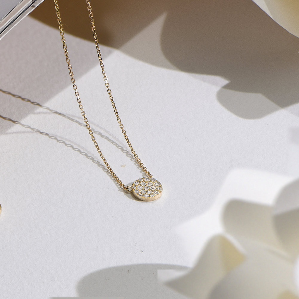 Keeya Pave Diamond Necklace - 14K Solid Gold - 3