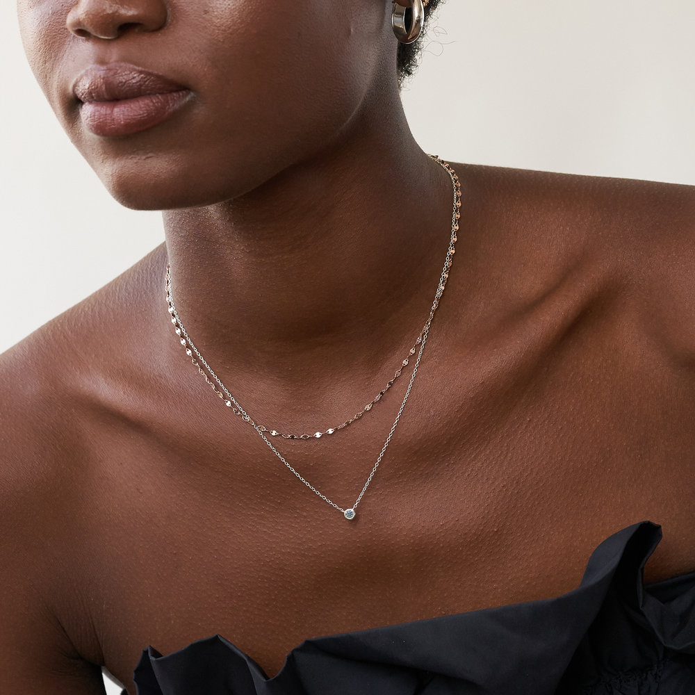 Juno Diamond Necklace - Sterling Silver - 1