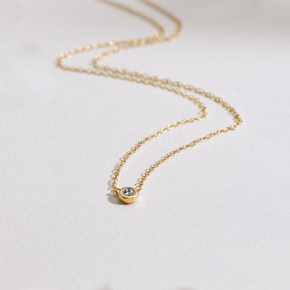 Juno Diamond Necklace - Gold Plating - 4