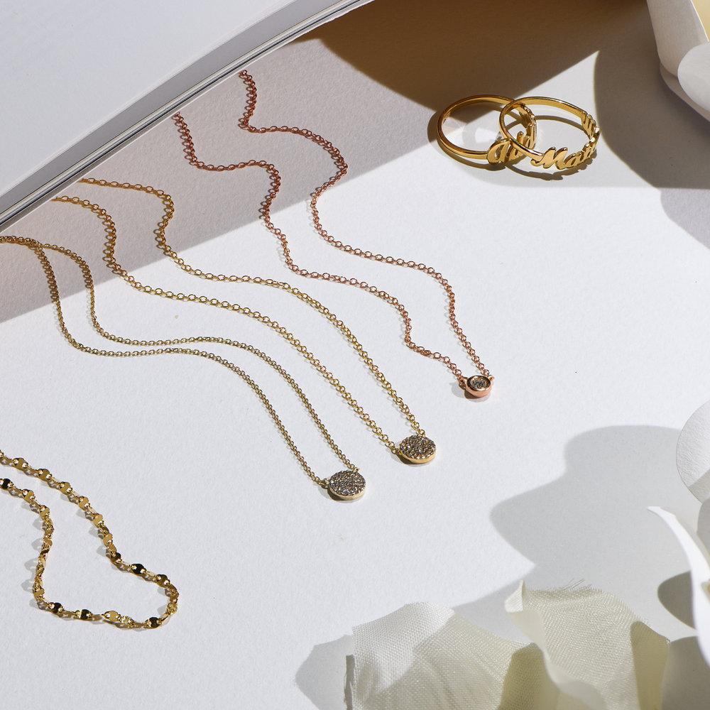 Juno Diamond Necklace - Rose Gold Plating - 3