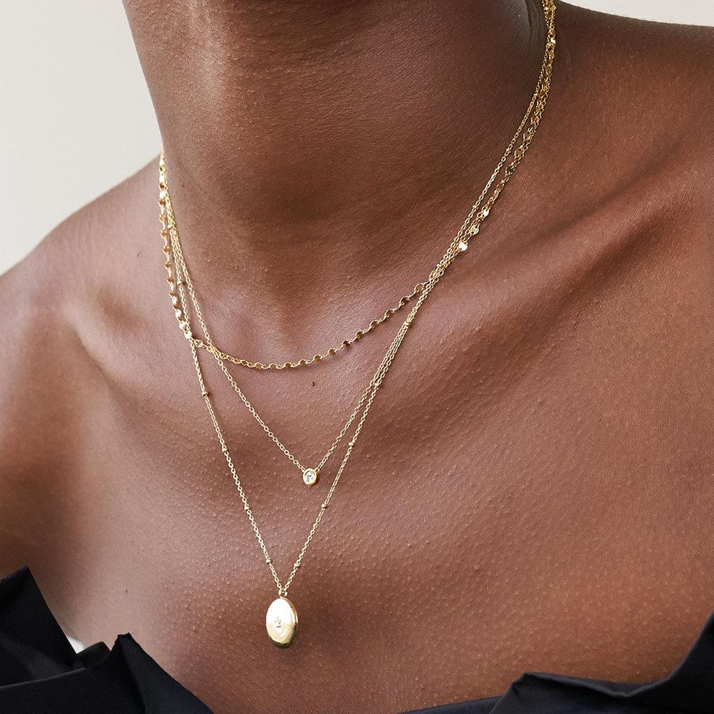 Juno Diamond Necklace - 14K Solid Gold - 1