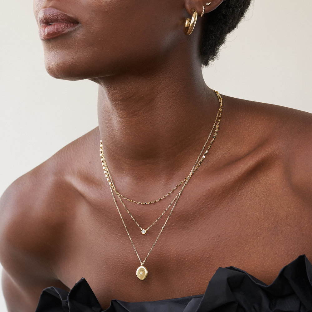 Aria Mirror Chain Necklace - Gold Plating - 1