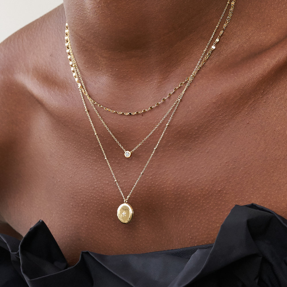 Aria Mirror Chain Necklace - Gold Plating - 2
