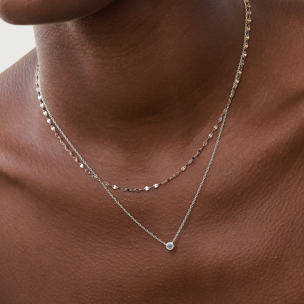 Aria Mirror Chain Necklace - Rose Gold Plating - 2