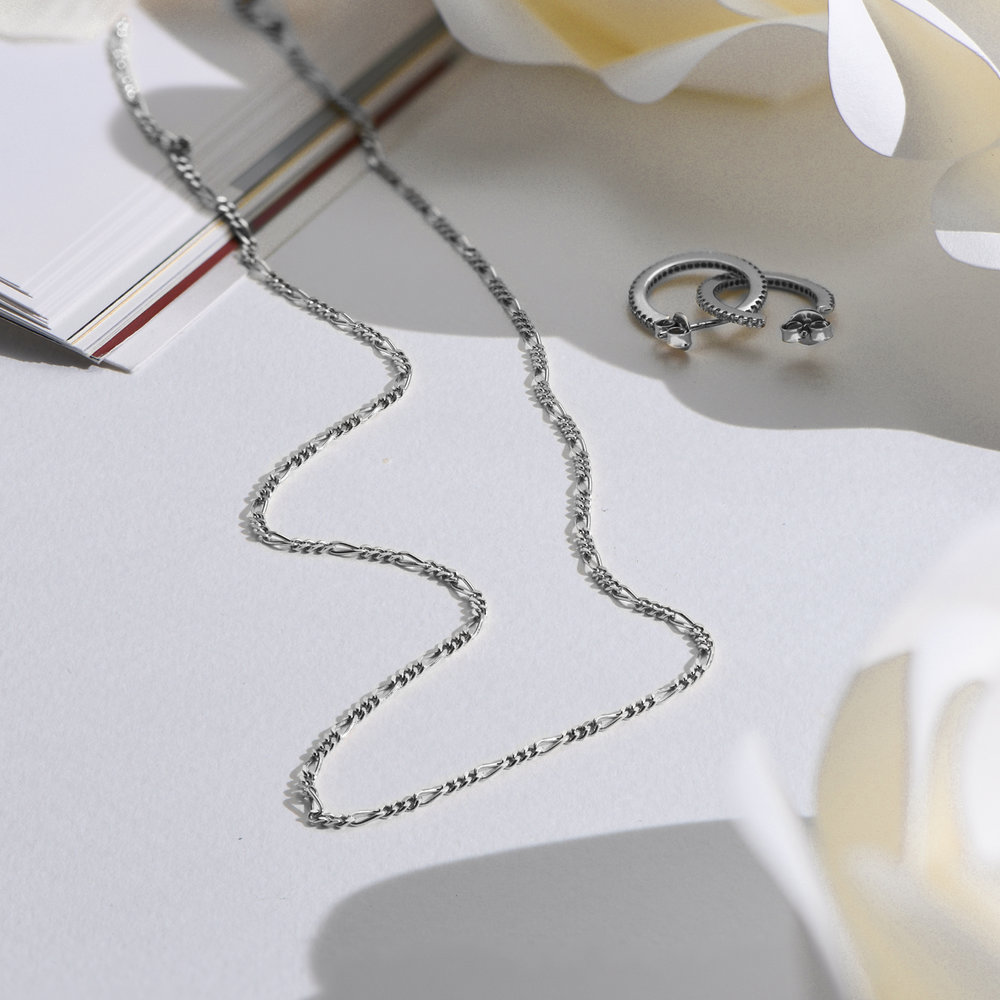 Figaro Chain Necklace - Sterling Silver - 1