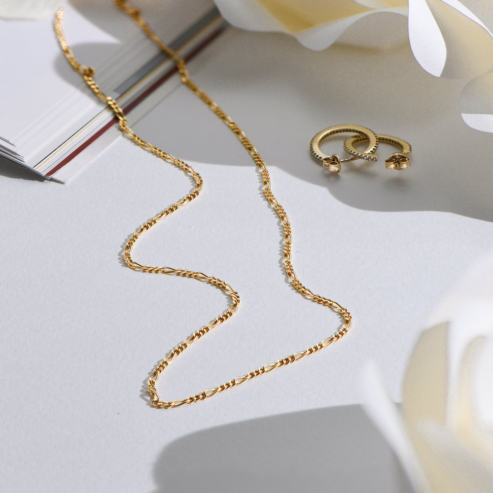 Figaro Chain Necklace - Gold Plating - 1