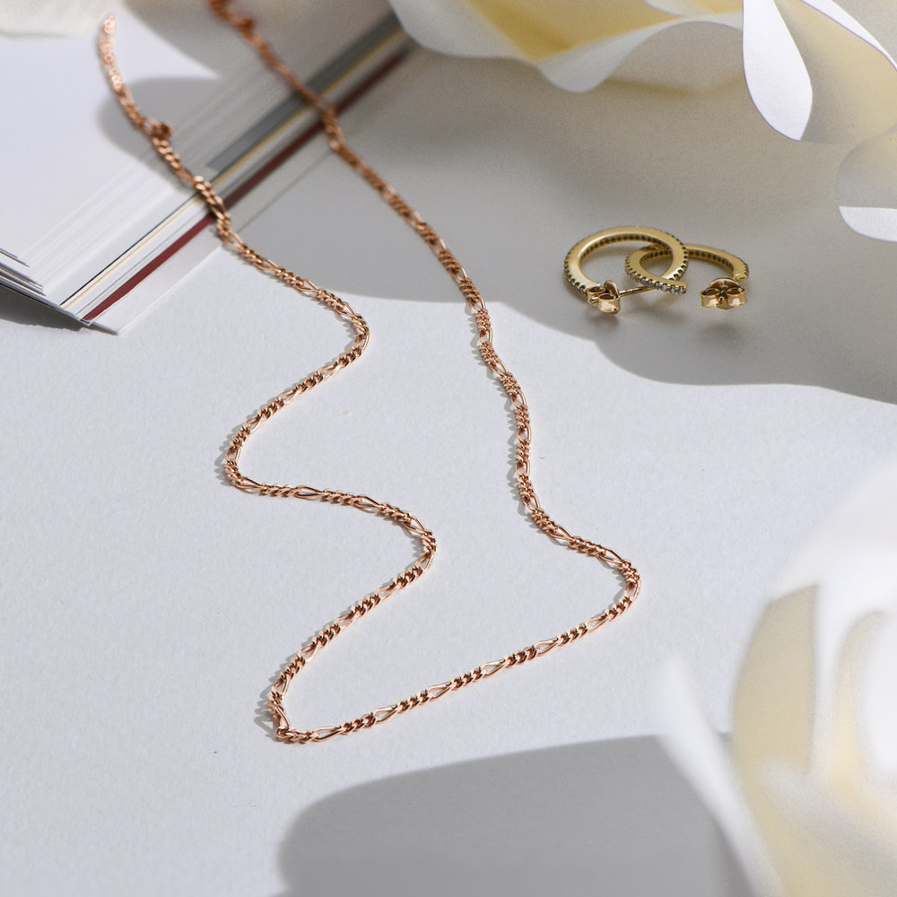 Figaro Chain Necklace - Rose Gold Plating - 1