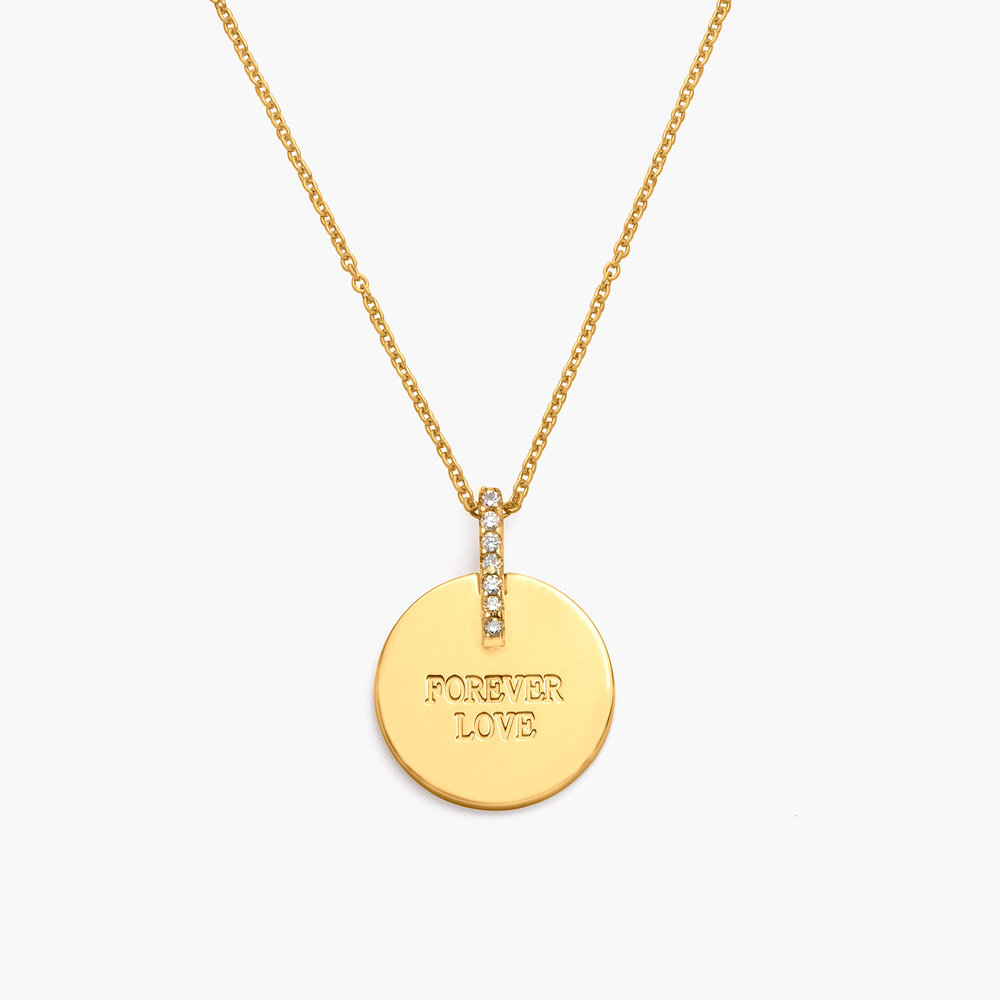 Karlie Engraved Necklace with Diamonds - Gold Vermeil