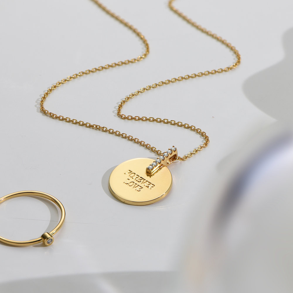 Karlie Engraved Necklace with Diamonds - Gold Vermeil - 1