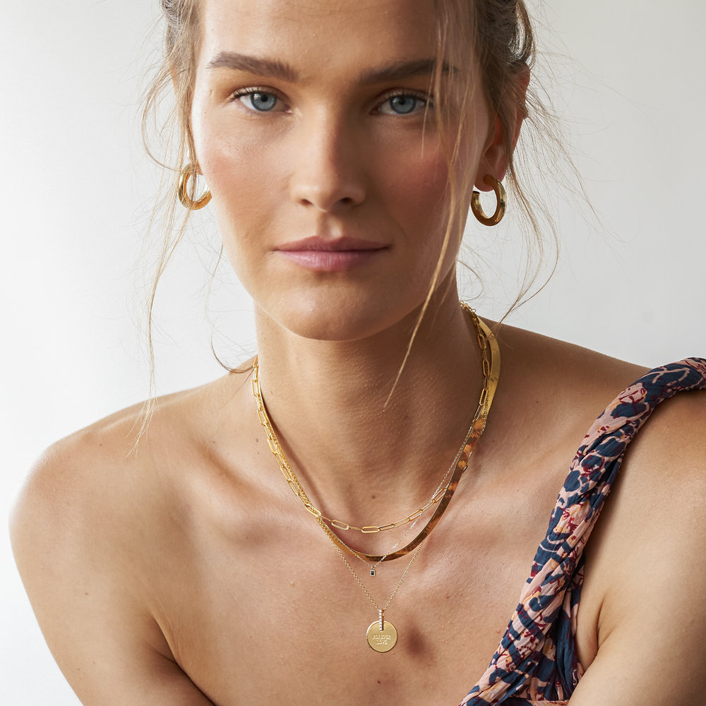 Karlie Engraved Necklace with Diamonds - Gold Vermeil - 2