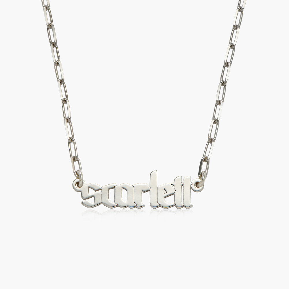 Alanis Paperclip Chain Name Necklace - Silver