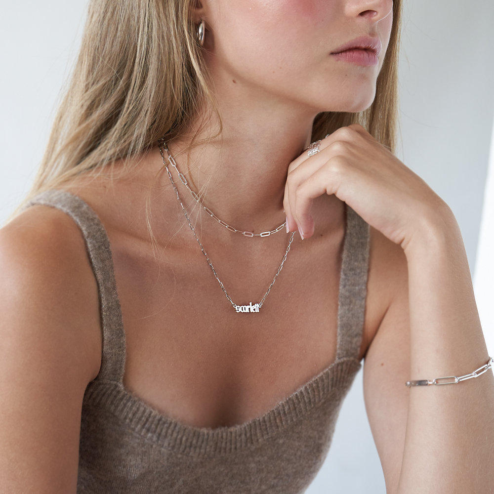 Alanis Paperclip Chain Name Necklace - Silver - 1