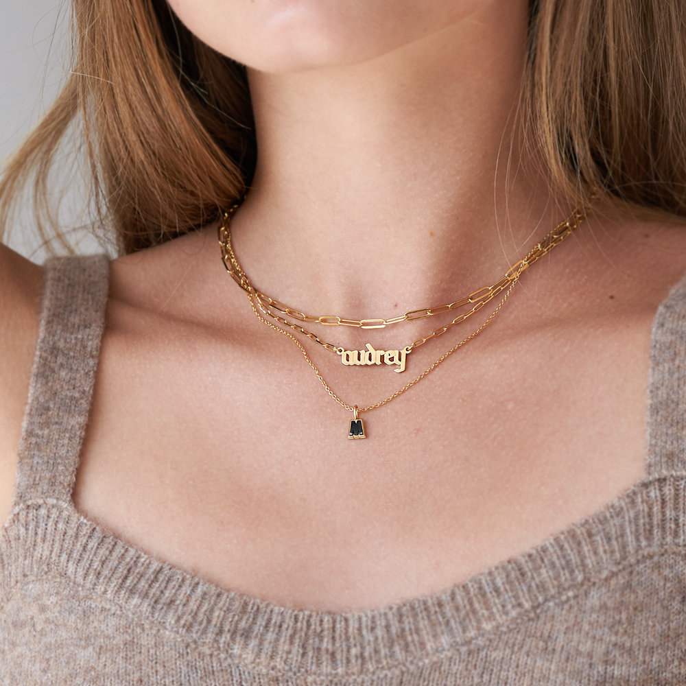 Alanis Paperclip Chain Name Necklace - Gold Plated - 3