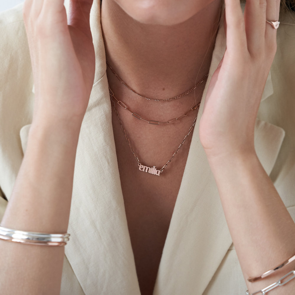 Alanis Paperclip Chain Name Necklace - Rose Gold Plated - 2