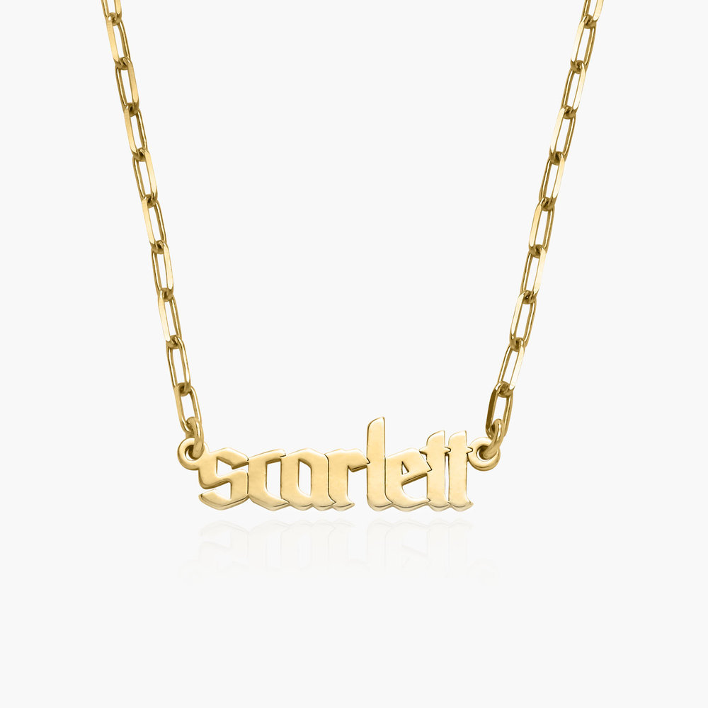 Alanis Paperclip Chain Name Necklace - Gold Vermeil