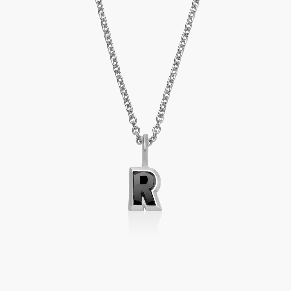 Emanuelle Initial Necklace with Black Diamond - Silver