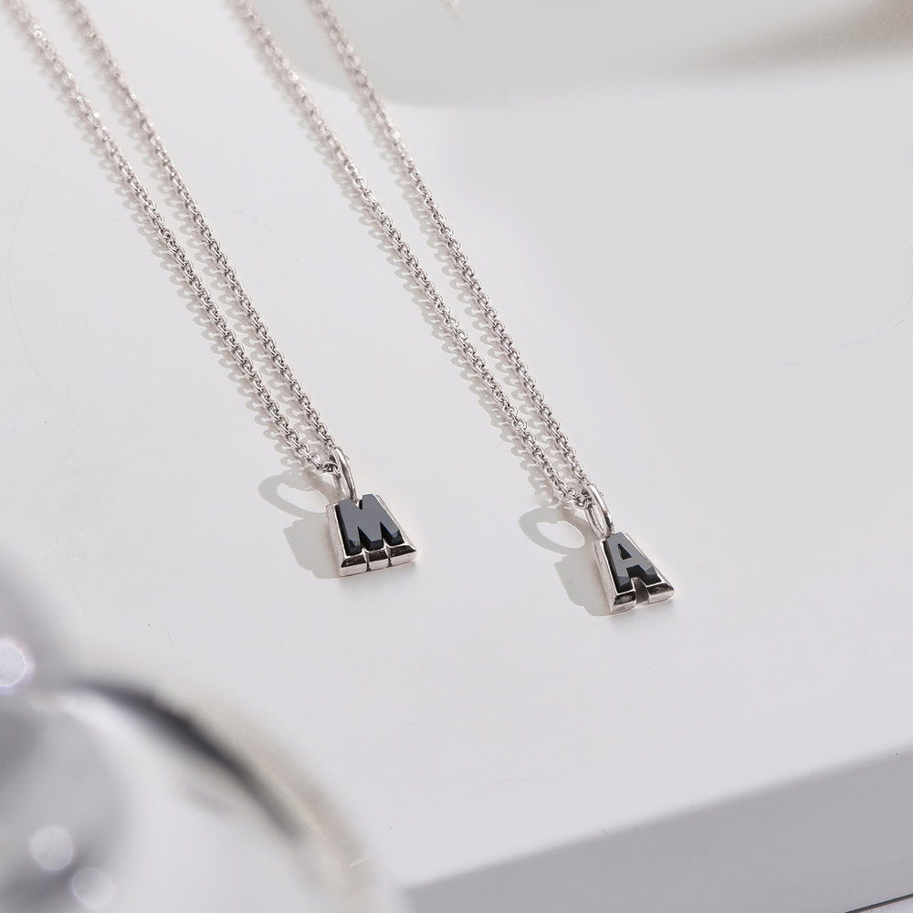 Emanuelle Initial Necklace with Black Diamond - Silver - 1