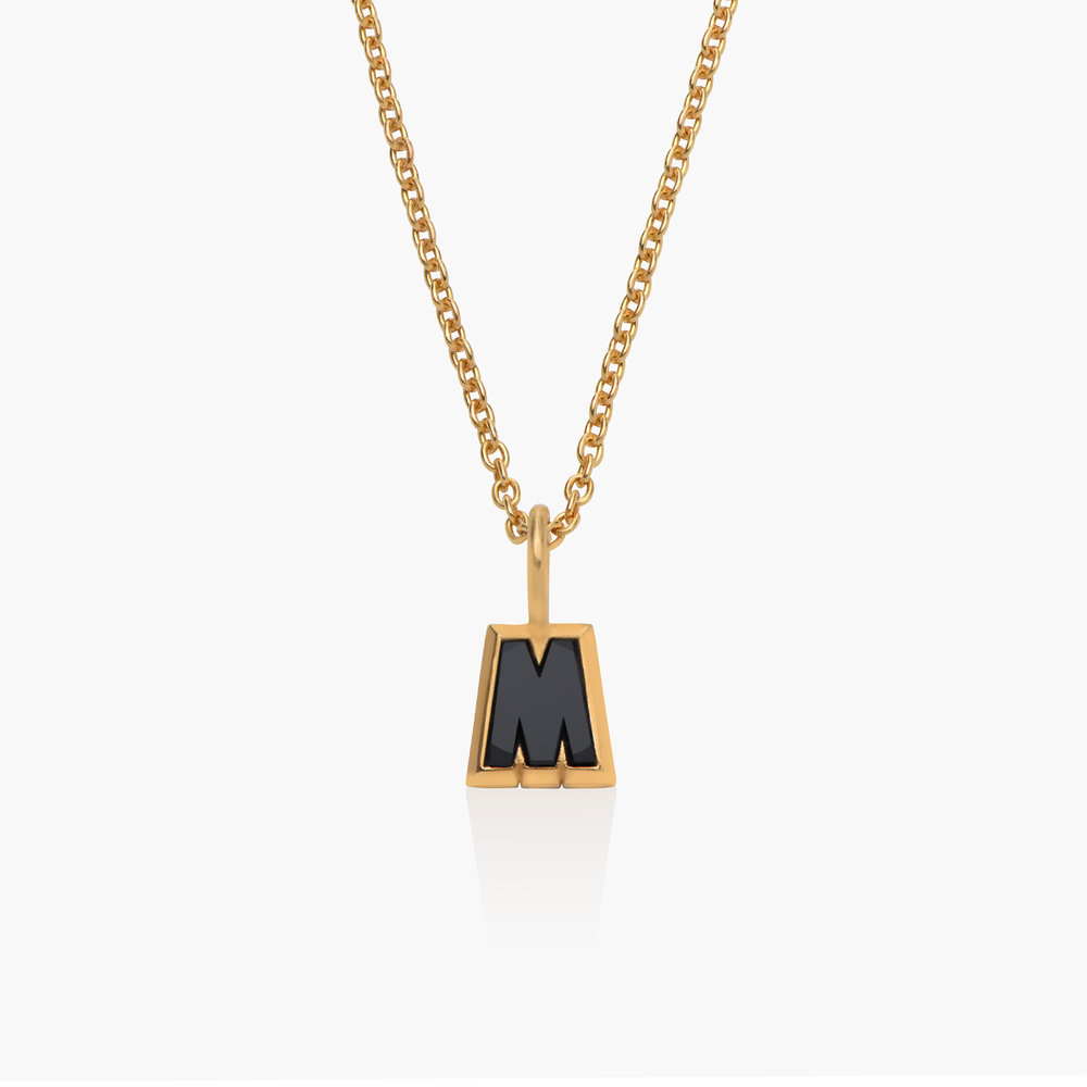 Emanuelle Initial Necklace with Black Diamond - Gold Plated