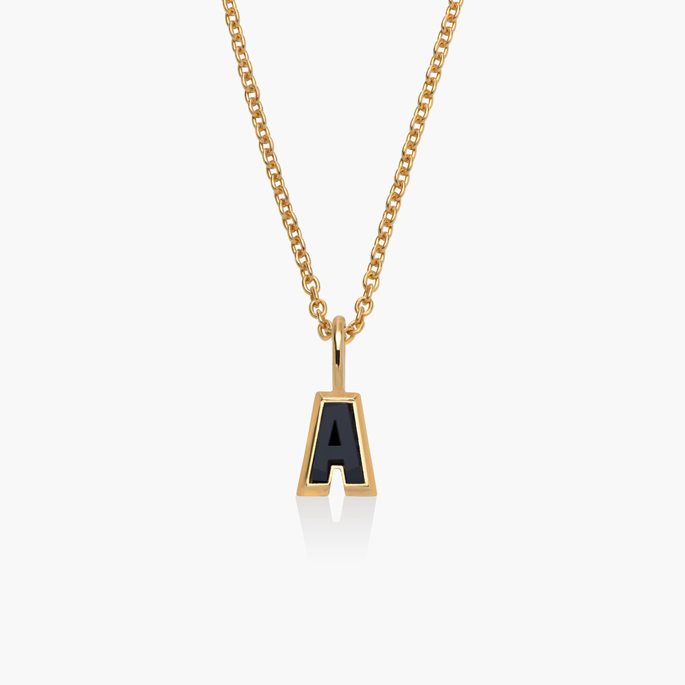 Emanuelle Initial Necklace with Black Diamond - Gold Plated - 1