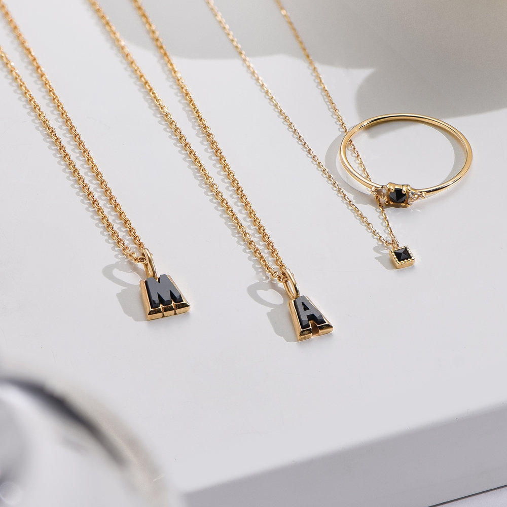 Emanuelle Initial Necklace with Black Diamond - Gold Plated - 2