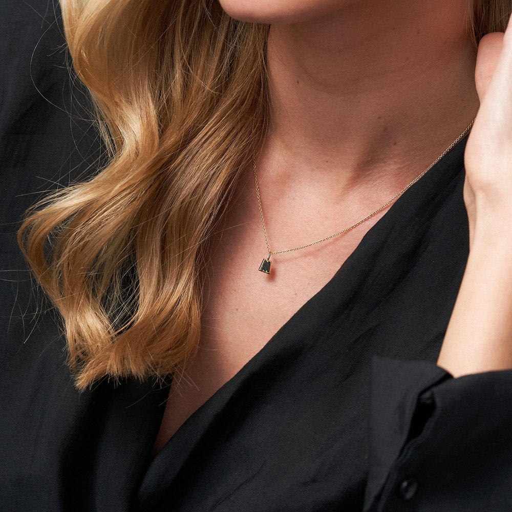 Emanuelle Initial Necklace with Black Diamond - Gold Plated - 4