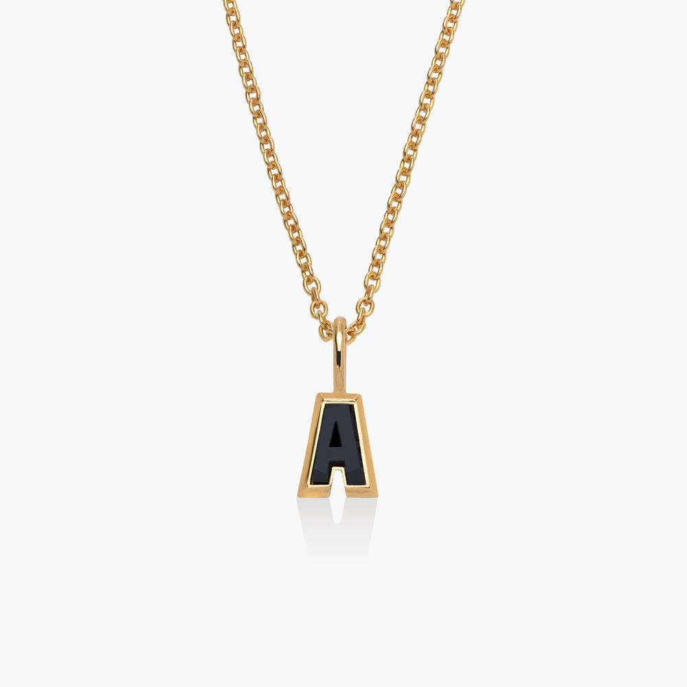 Emanuelle Initial Necklace with Black Diamond - Gold Vermeil