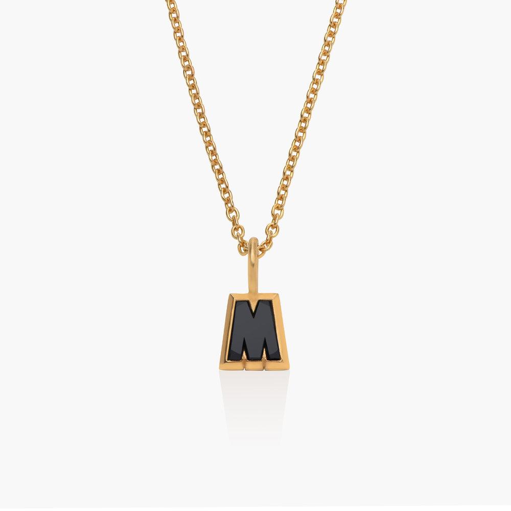 Emanuelle Initial Necklace with Black Diamond - Gold Vermeil - 1