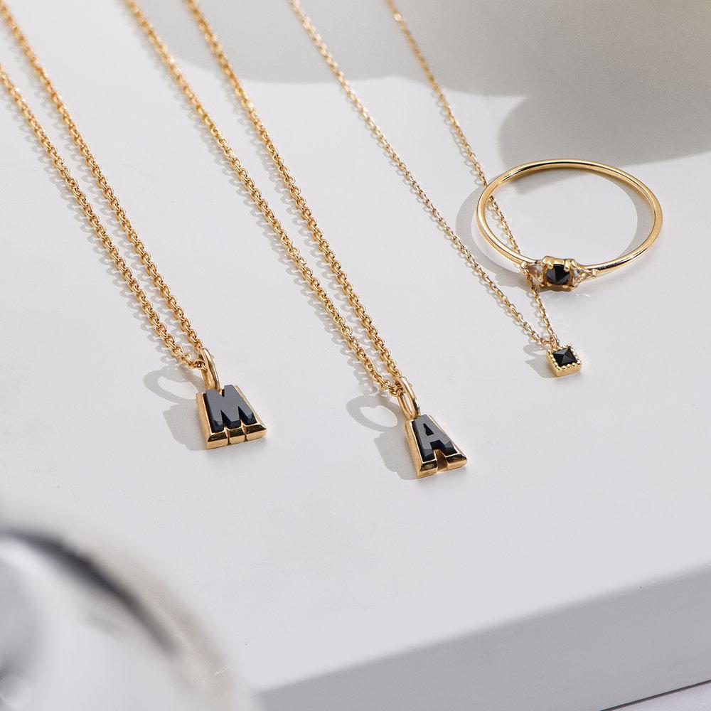 Emanuelle Initial Necklace with Black Diamond - Gold Vermeil - 2