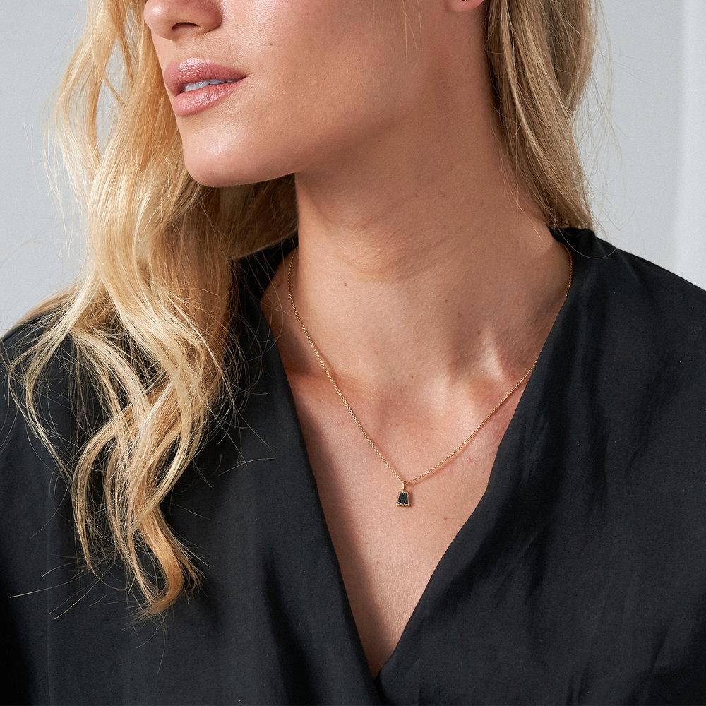 Emanuelle Initial Necklace with Black Diamond - Gold Vermeil - 3