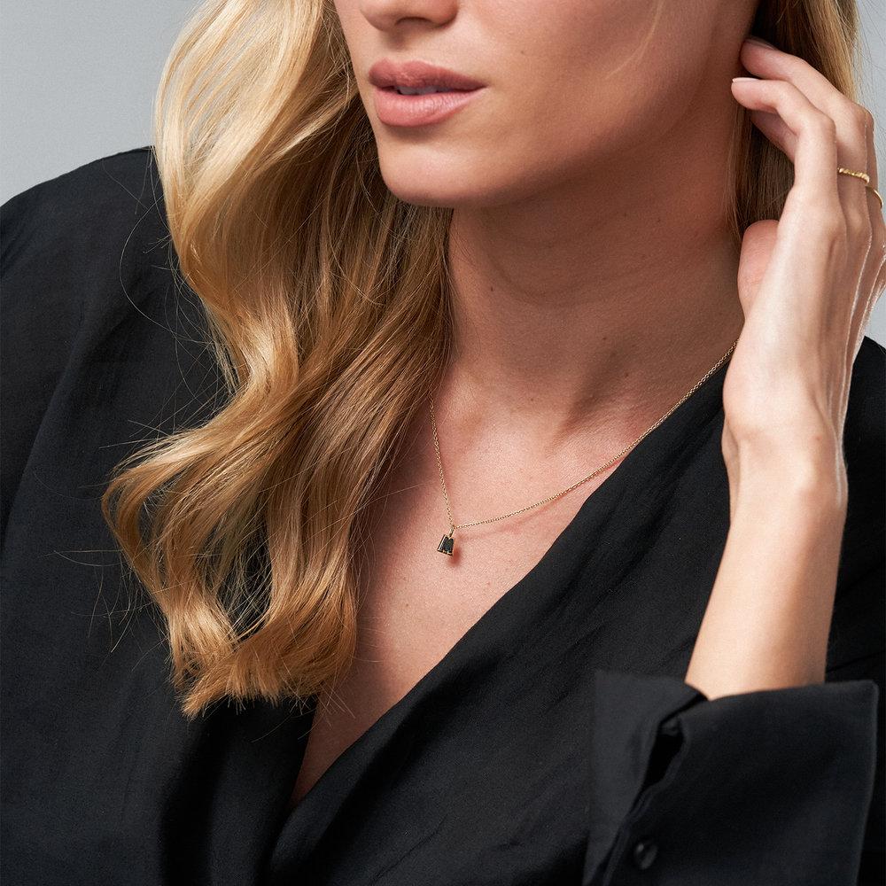 Emanuelle Initial Necklace with Black Diamond - Gold Vermeil - 4