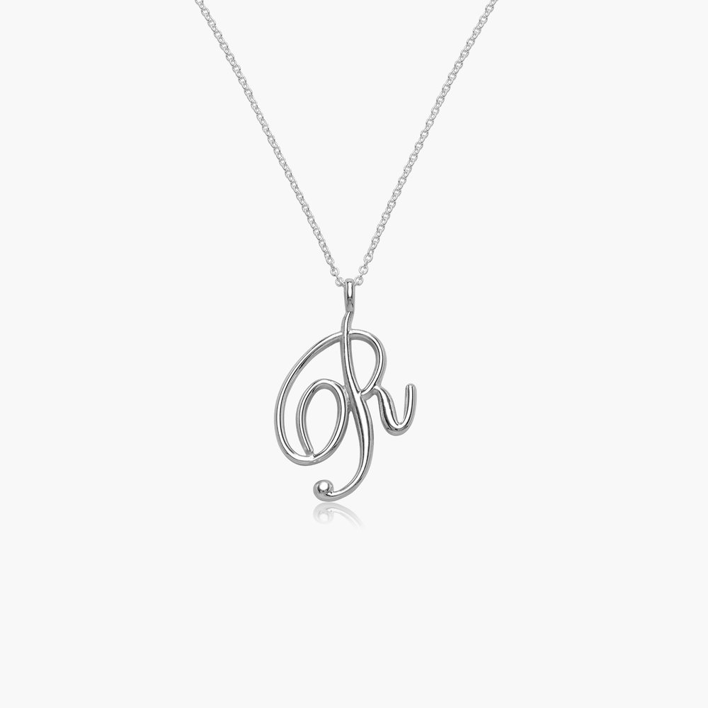 Nina Large Initial Musical Necklace - Silver