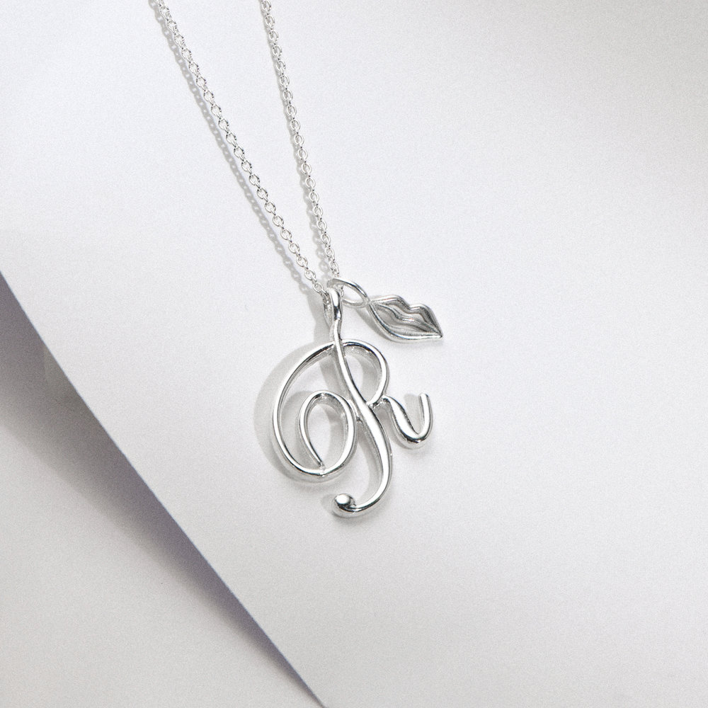 Nina Large Initial Musical Necklace - Silver - 1