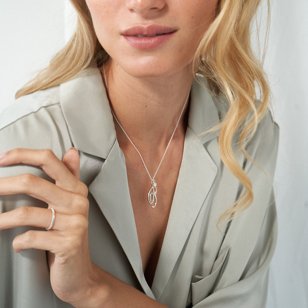 Nina Large Initial Musical Necklace - Silver - 2