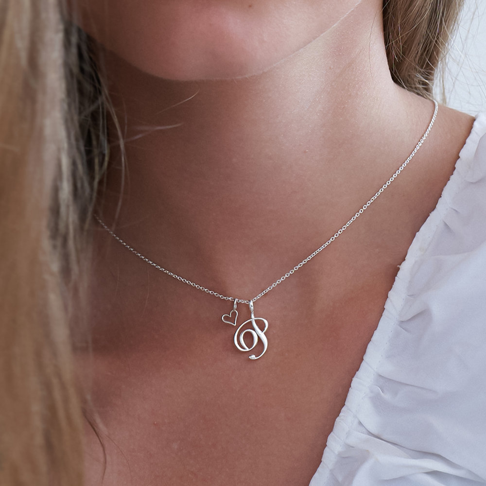 Nina Large Initial Musical Necklace - Silver - 4