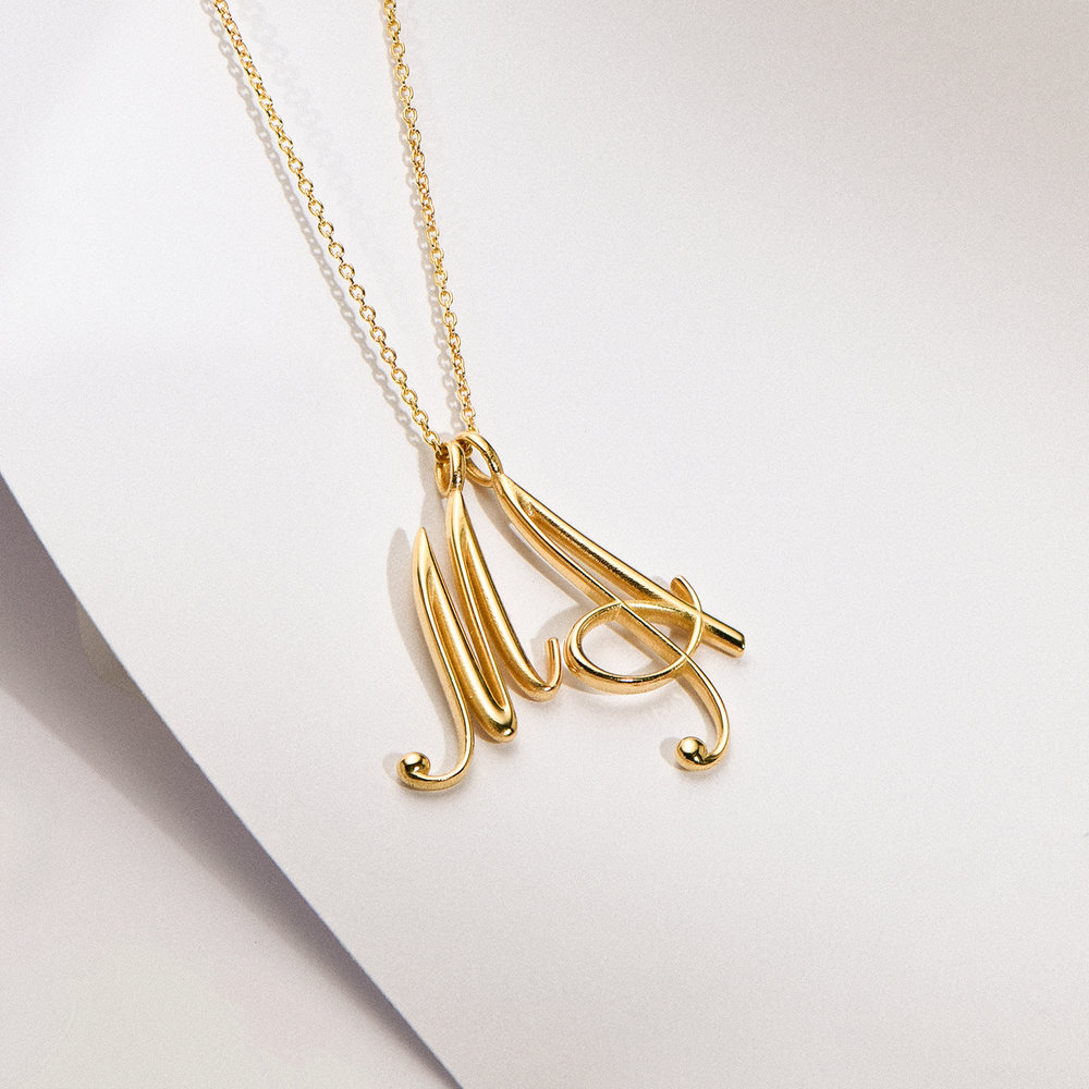 Nina Large Initial Musical Necklace - Gold Plating - 1