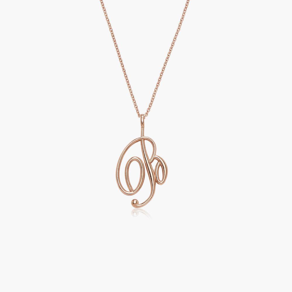 Nina Large Initial Musical Necklace - Rose Gold Plating