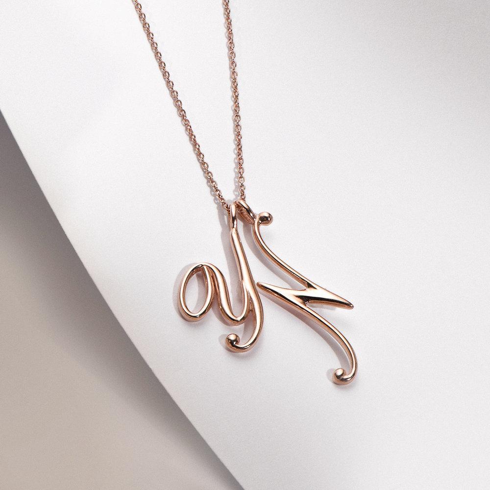 Nina Large Initial Musical Necklace - Rose Gold Plating - 1