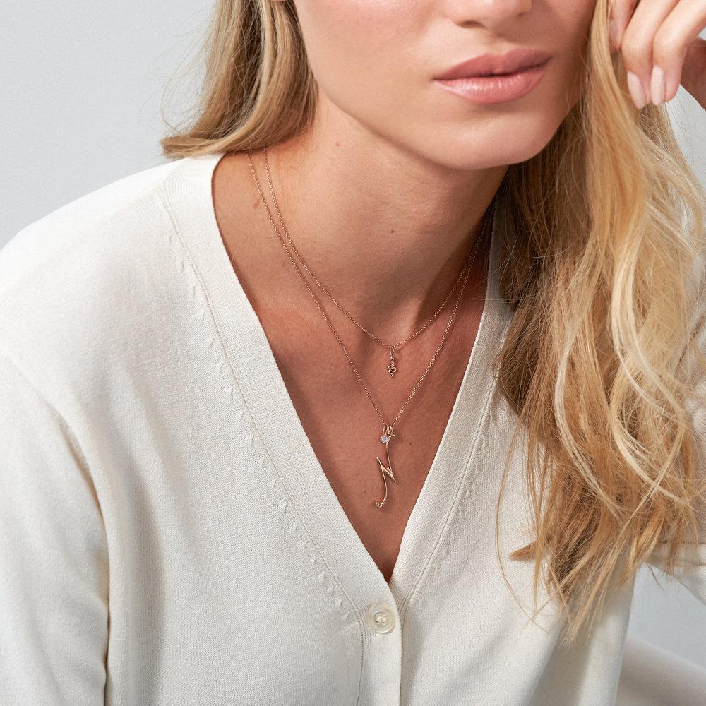 Nina Large Initial Musical Necklace - Rose Gold Plating - 2